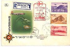 AZ170 1954 *ISRAEL* Zurich Switzerland First Flight Cover {samwells-covers}PTS