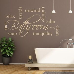 Bathroom Wall Sticker Relax Unwind Words Home Wall Art Quote Ebay