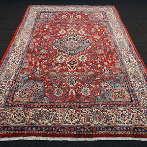 orient teppich rot 332 x 216 cm beige blau alter perserteppich old carpet rug ebay. Black Bedroom Furniture Sets. Home Design Ideas