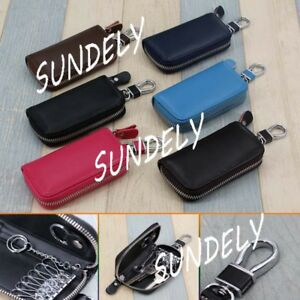 Multifunctional-Leather-Pouch-Wallet-Card-Car-Key-Holder-Chain-Ring-Storage-Bag