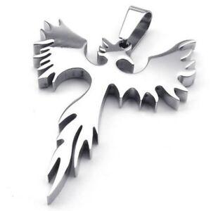 Schmuck-Edelstahl-Phoenix-Feuervogel-Anhaenger-mit-60cm-Kette-Halskette-fuer-IS
