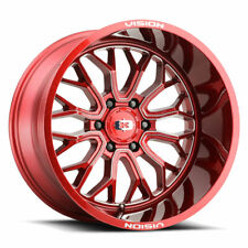 24 Inch 24x12 Vision Offroad Riot Red Wheels Rims 8x170 51