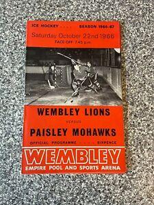 Wembley Empire Pool - Wembley Lions - Ice Hockey Programme 22/10/1966