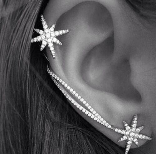 Silver Plated Star Ear Cuff Stud Earrings Sweep Wrap Leaf Climber Rings ECF09
