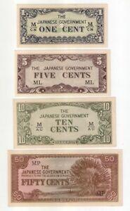 Malaya-Japanese-Invasion-JIM-1-5-10-and-50-Cents-set-of-4-pcs-UNC