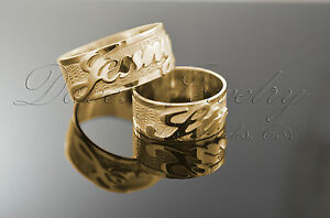 1f28aba387f62 Details about Personalized Wedding Bands with Name 14k Real solid Gold