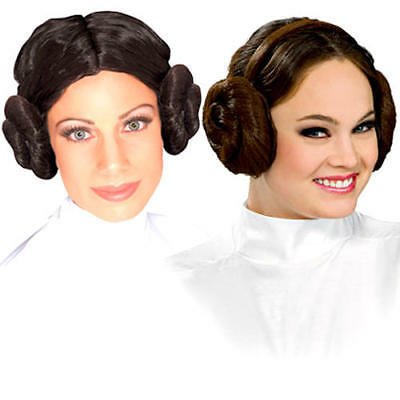 Princess Leia Hair Buns Ladies Fancy Dress Star Wars Adult Costume Accessory New