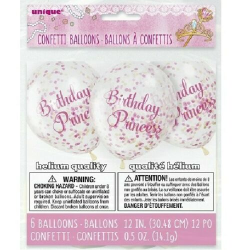 6PK 12IN 12/'/' Clear Confetti Filled Balloons Birthday Party Wedding Decorations