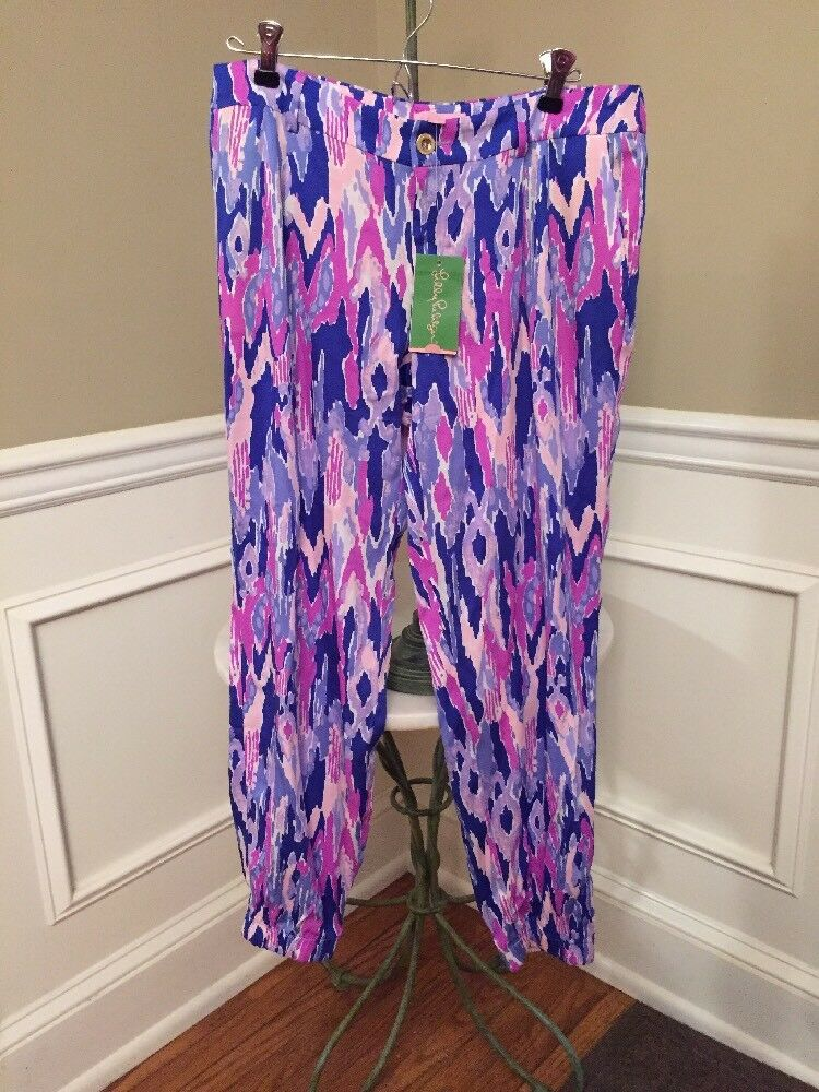 NWT Lilly Pulitzer  128 Amethyst One Too Many Saffron Pant Size 4