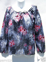 Madison & Co Women's Silver Red & White Floral Drawstring Neck Ls Top Size M
