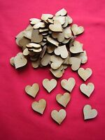 2cm / 20mm MDF HEARTS x 100  LASER CUT MDF WOODEN SHAPE
