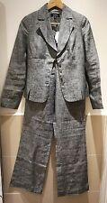 Sino 100% linen grey slim suit matching blazer and trousers uk size 6-8 *BNWT*
