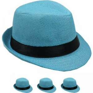 d9c5e3c9cefc3a KIDS FEDORA HAT STRAW KID GIRL BOY CUBAN STYLE LIGHT BLUE PANAMA ...