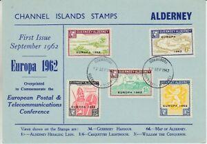 Europe-Cept-1962-Guernsey-Alderney-5-Values-on-Map