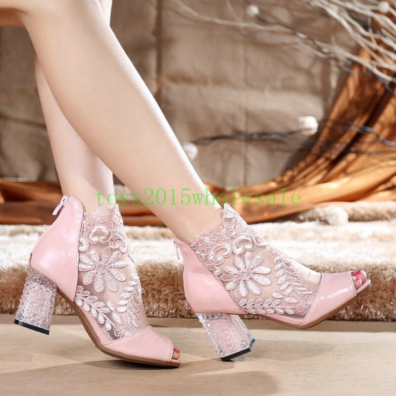 2018 New New New Ladies block chunky high heel lace mesh open toe sandals boots shoes Sz f4a8fa