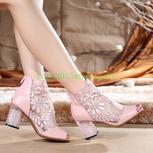 2018 New Ladies block chunky high heel lace mesh open toe sandals boots shoes Sz