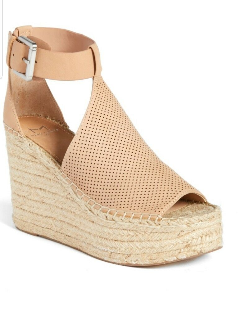 MARC FISHER ANNIE PERFORATED ESPADRILLE WEDGE SANDALS IN BLUSH SUEDE Dimensione 8
