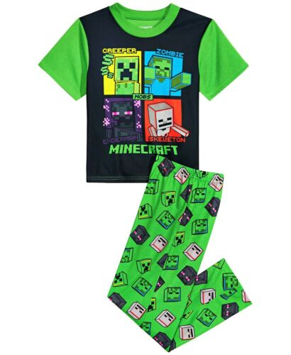 MINECRAFT CREEPER Comfort Pajamas Sleepwear Set Boys//Youth Size 6 8 or 10  $40