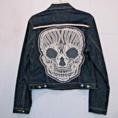 Upcycled Skull Denim Vest Large