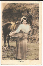 Happy Birthday Wishes, Lady with Horse PPC, Betchworth PMK 1913 By Solomon Bros