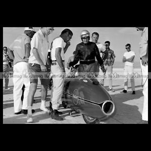 #phm.56823 Photo BURT MUNRO INDIAN SCOUT BONNEVILLE 1966 SPEED RECORD Motorcycle