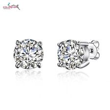 925 Sterling Silver Simulated 2 Carat Solitaire Diamond Round Stud Earrings