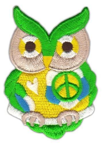 Ah80 lechuza Uhu verde amarillo Patch perchas imagen aplicación parchear DIY pájaro niños