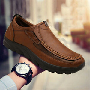 Men-039-s-Leather-Casual-Shoes-Antiskid-Breathable-Slip-on-Driving-Loafers-Moccasins