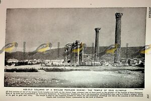 Temple-of-Zeus-Olympius-Athens-Greece-Book-Illustration-Print-c1920