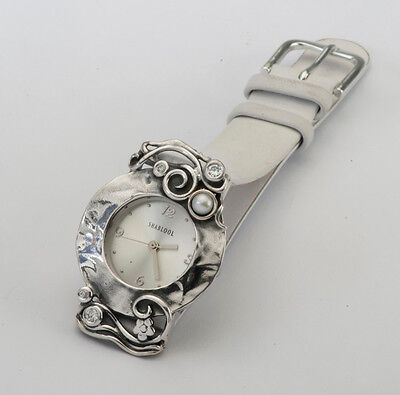 W00694CW SHABLOOL Pearl and CZ 925 Sterling Silver Bracelet Watch White Leather