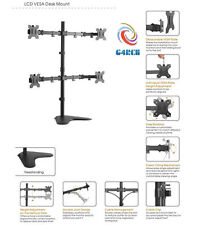 """Steel LCD LED 3D HD Monitor Dual Desk Stand Mount Upto 32"""" Apple HP Samsung Sony"""