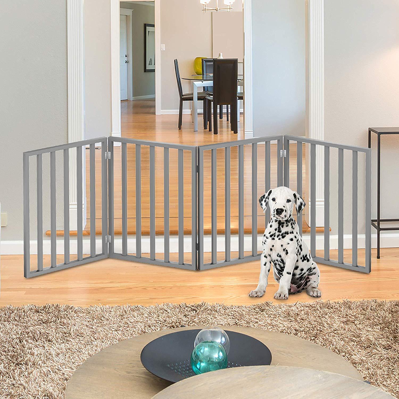 PETMAKER Wooden Pet Gate Foldable 4Panel Indoor Barrier Fence, Freestanding 72