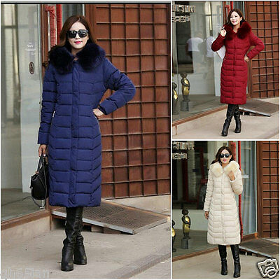 S-XXL Womens Winter Hooded Coat Fur Duck Down Parka Jacket Long Lady Outerwear