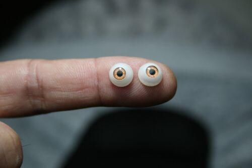 """Ojos para muñeca acrílicos 8  mm 5//16/"""" 1 par marrón reborn bjd ooak dollfie"""