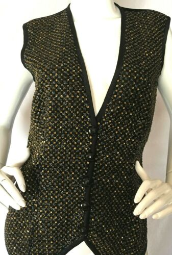 Valentino 'Night' Label Black Velvet Beaded Vest S