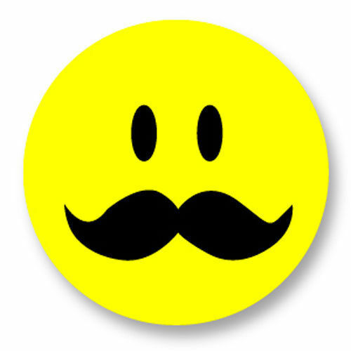 Magnet Aimant Frigo Ø38mm Smiley Happy Face Moustache Mustache