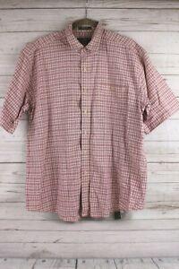 Orvis-Mens-Short-Sleeve-Cotton-Shirt-Size-Large-Plaid