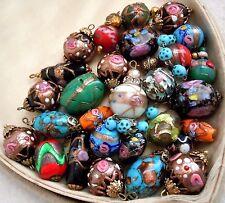 Antique Venetian Glass Wedding Cake Foil Beads, Jewelry 28pc, 5 Sets, Estate Lot