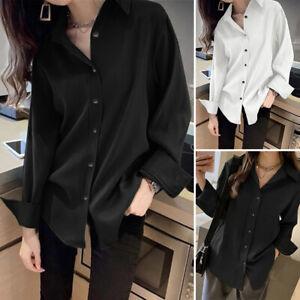 ZANZEA-Femme-Chemise-Manche-Longue-Bouton-Revers-Original-Ample-Haut-Shirt-Plus