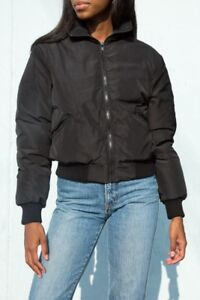 Brandy-Melville-black-fluffy-Faith-puffer-Jacket-NWT-sz-S