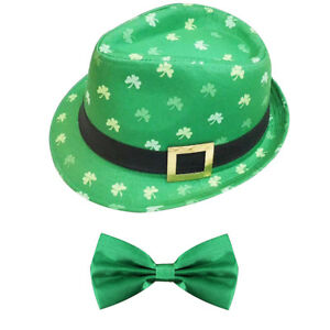 IRISH SHAMROCK TRILBY HAT AND GREEN BOW TIE ST PATRICKS DAY PARTY ... 26be13acb838
