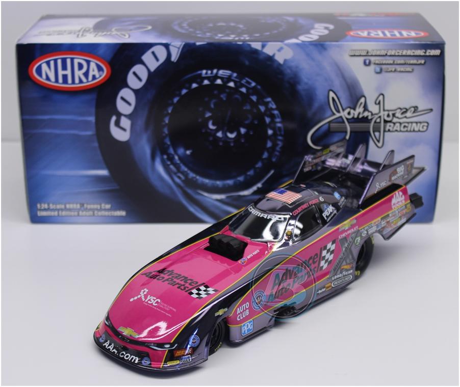 Nueva Asociación Nacional Nacional Nacional de Hot Rod 2017 Courtney Force rosado Advance Auto Parts Diverdeido Color de Chrome 1 24 10759e