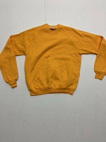 VINTAGE 1980's Golden Tellow JERZEES blank CREWNEC