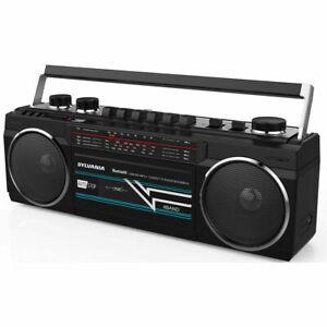 SYLVANIA-Bluetooth-Cassette-Radio-Boombox-Portable-Speaker