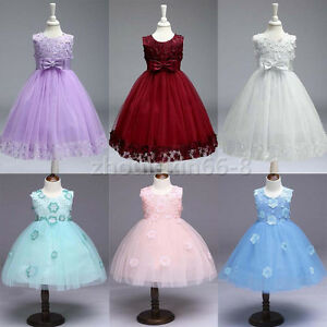 New Girls' Kids Bow Tie Lace Princess Dress Wedding Party Pageant Formal Dresses