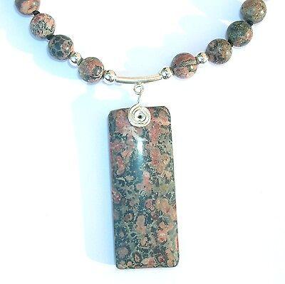 Amulett - Design - Collier Leopardenjaspis 925 Silber Rechteck - Anhänger rosa