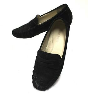 2500-Nine-West-Women-5-5M-Loafers-Moccasins-Shoes-Reptile-Slip-On-Leather-Black