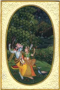 Indian-Krishna-Radha-Decor-Art-Handmade-Hindu-Ethnic-Miniature-Folk-Painting