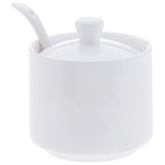 White Basics Sugar Bowl with Spoon