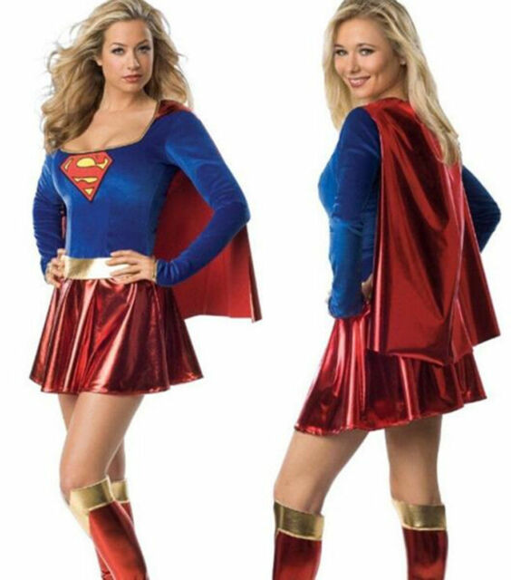 womens fancy dress superhero outfit halloween supergirl superwoman costume hot